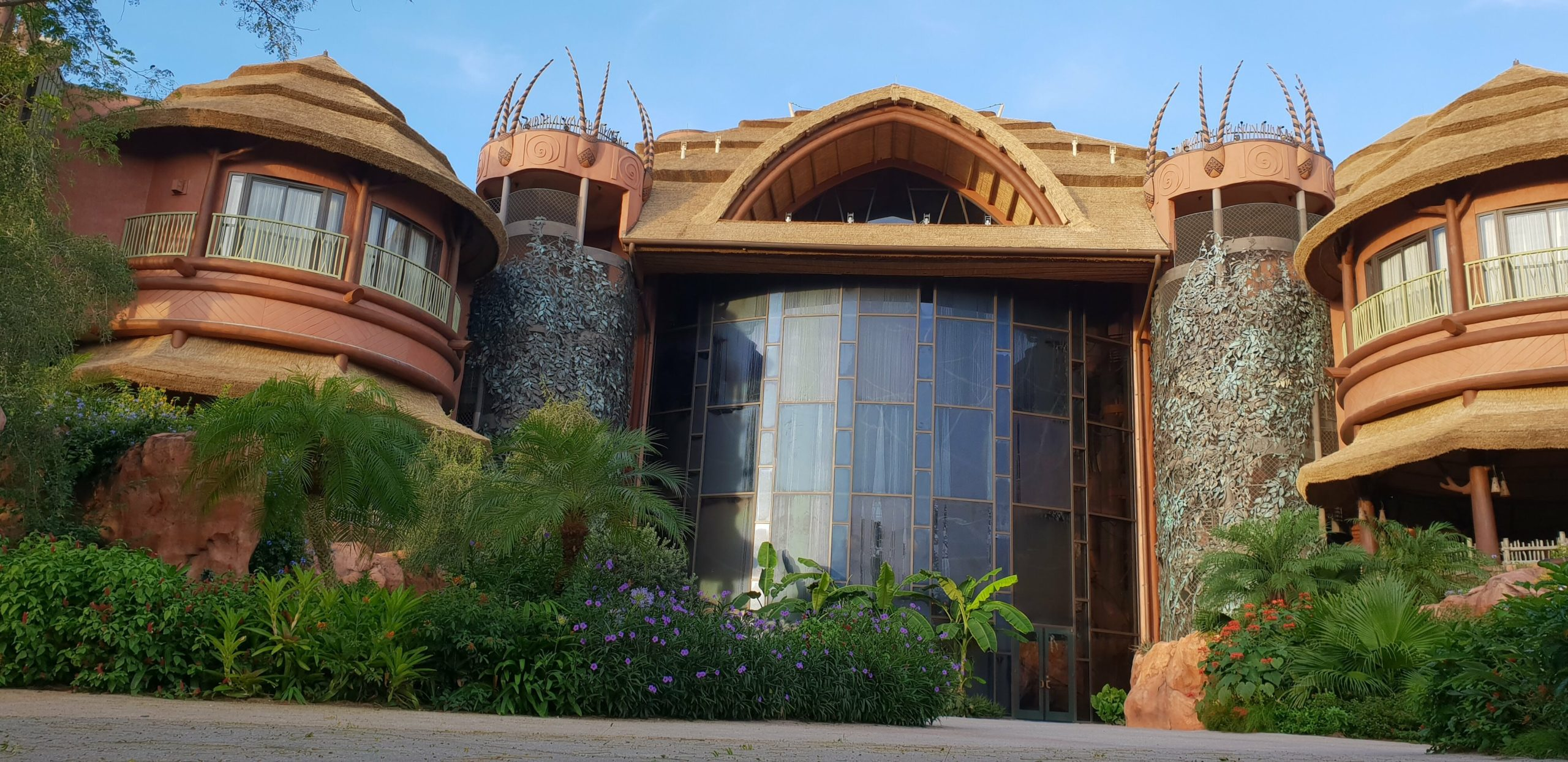 Exterior of Animal Kingdom Lodge is inspired by African safari design