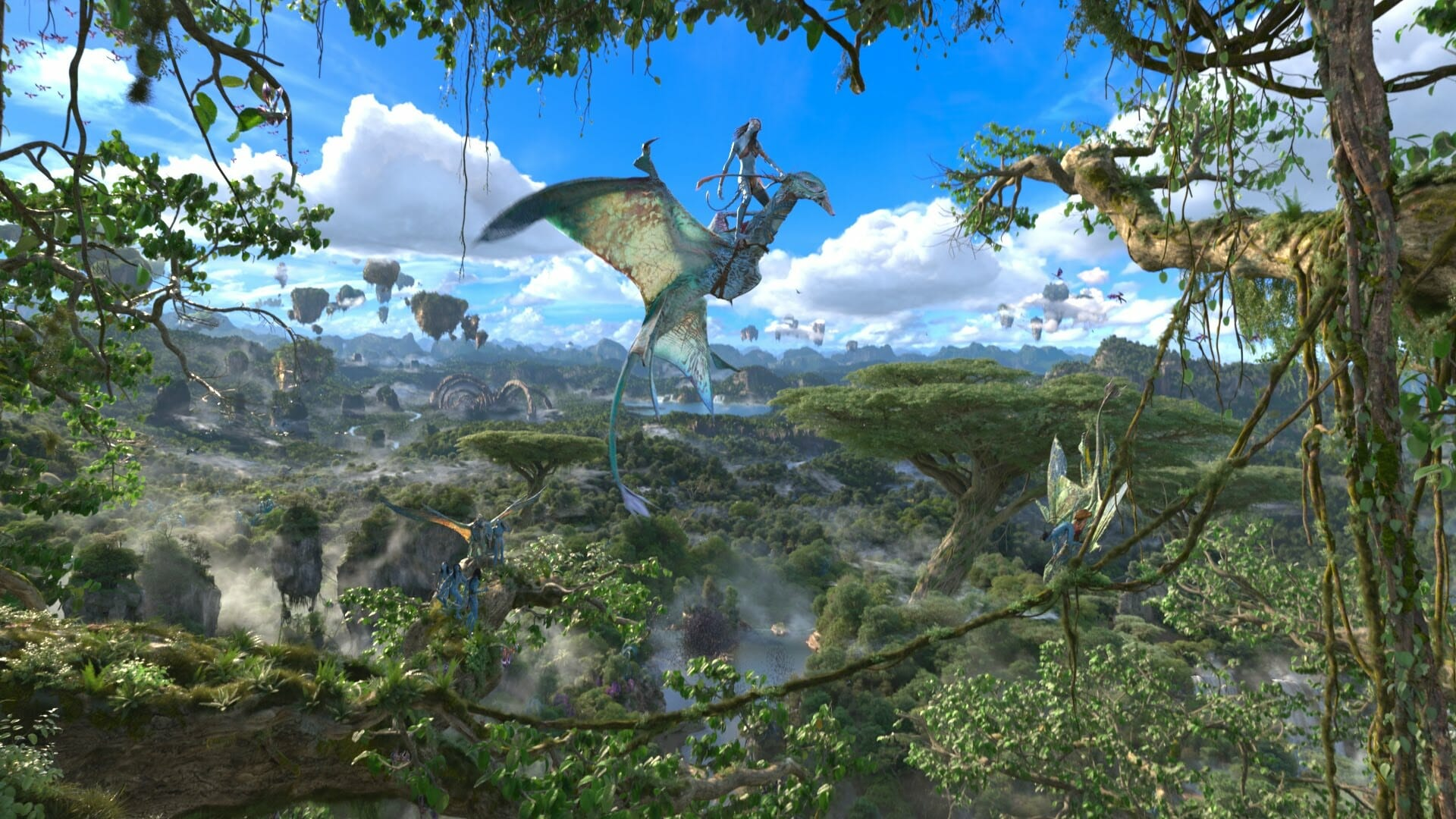 A scene from Avatar simulation with flying creatures