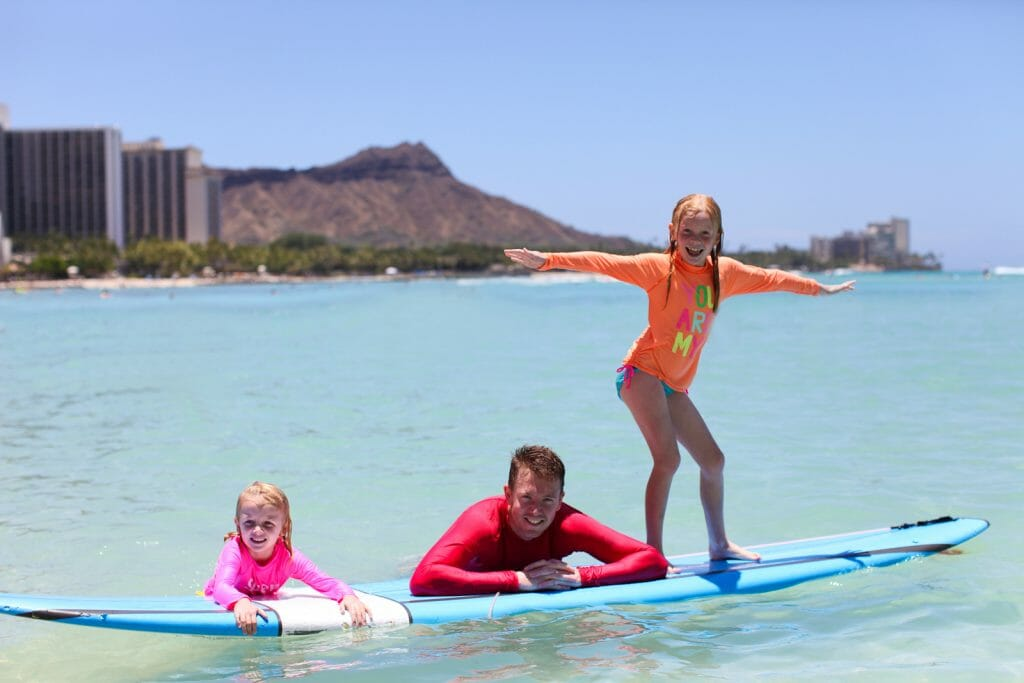 Kids learning to surf in Hawaii