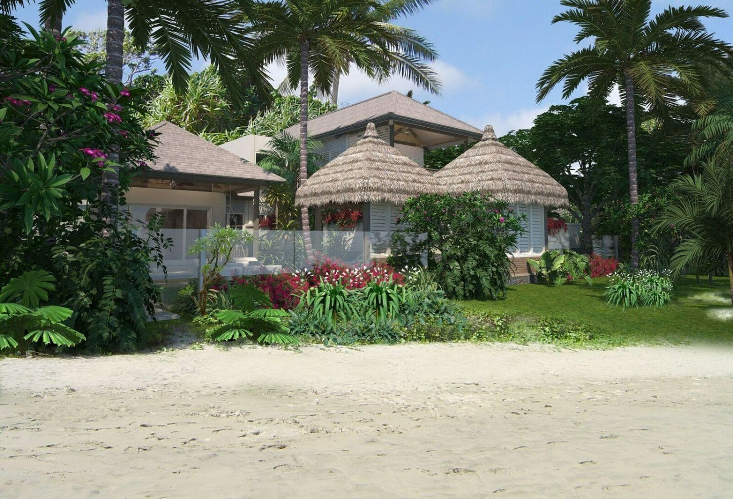 View of thatched-roof villas from sandy beach