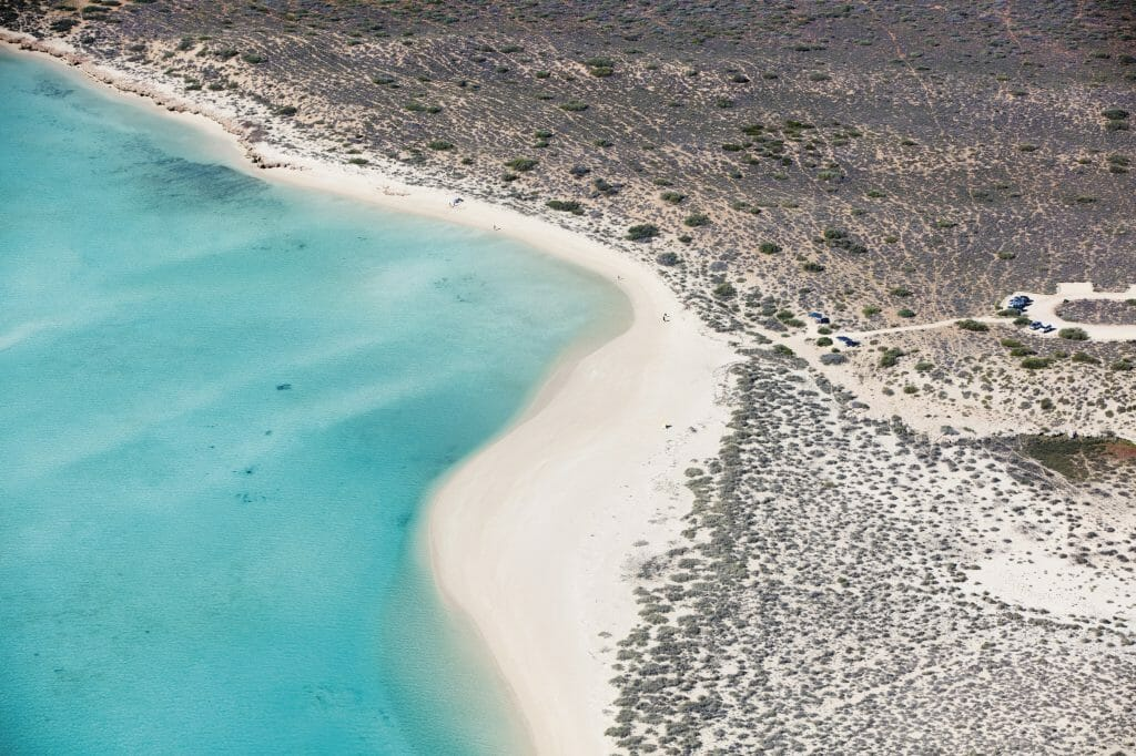 Aerial shot of Turquoise Bay