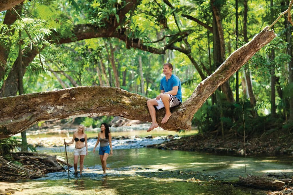 Man sits on tree overhanging creek in the Daintree, two girls in the background
