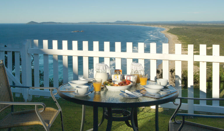Breakfast table set up at Smoky Cape Lighthouse Keepers Cottage, Hat Head National Park