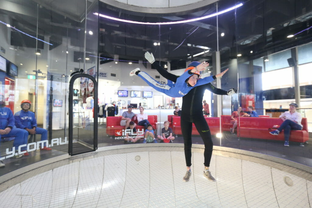 Callum Godfrey tries indoor skydiving in Penrith. Picture: iFlyDownunder / Family Travel