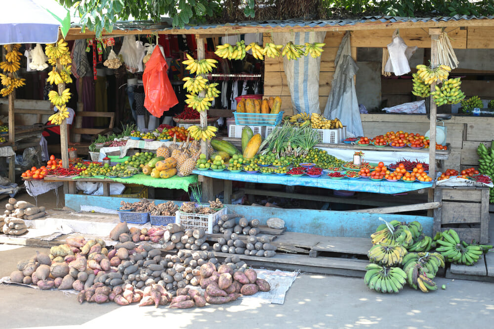 Small market stall selling fruit