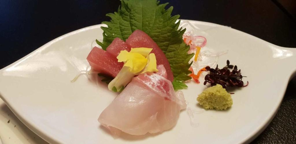 Sushi in Japan - note the real wasabi.