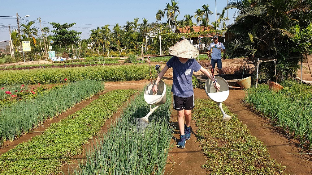 Watering the vegetables in Hoi An