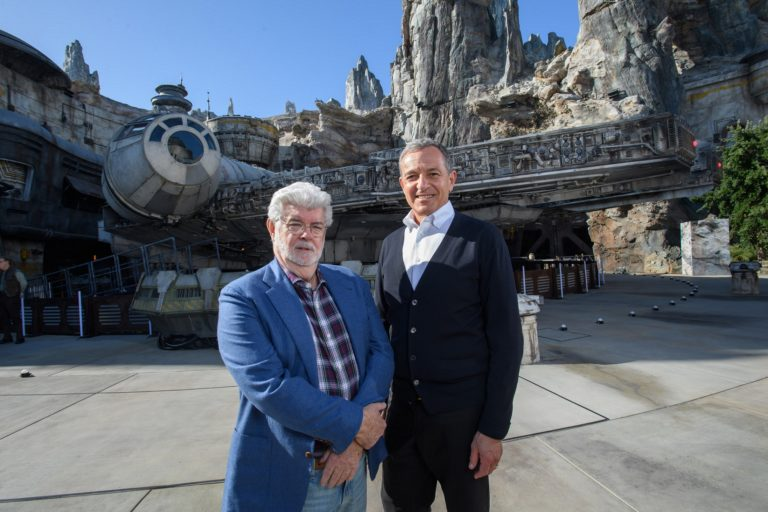 Bob Iger and George Lucas Tour Star Wars: Galaxy's Edge Disneyland California