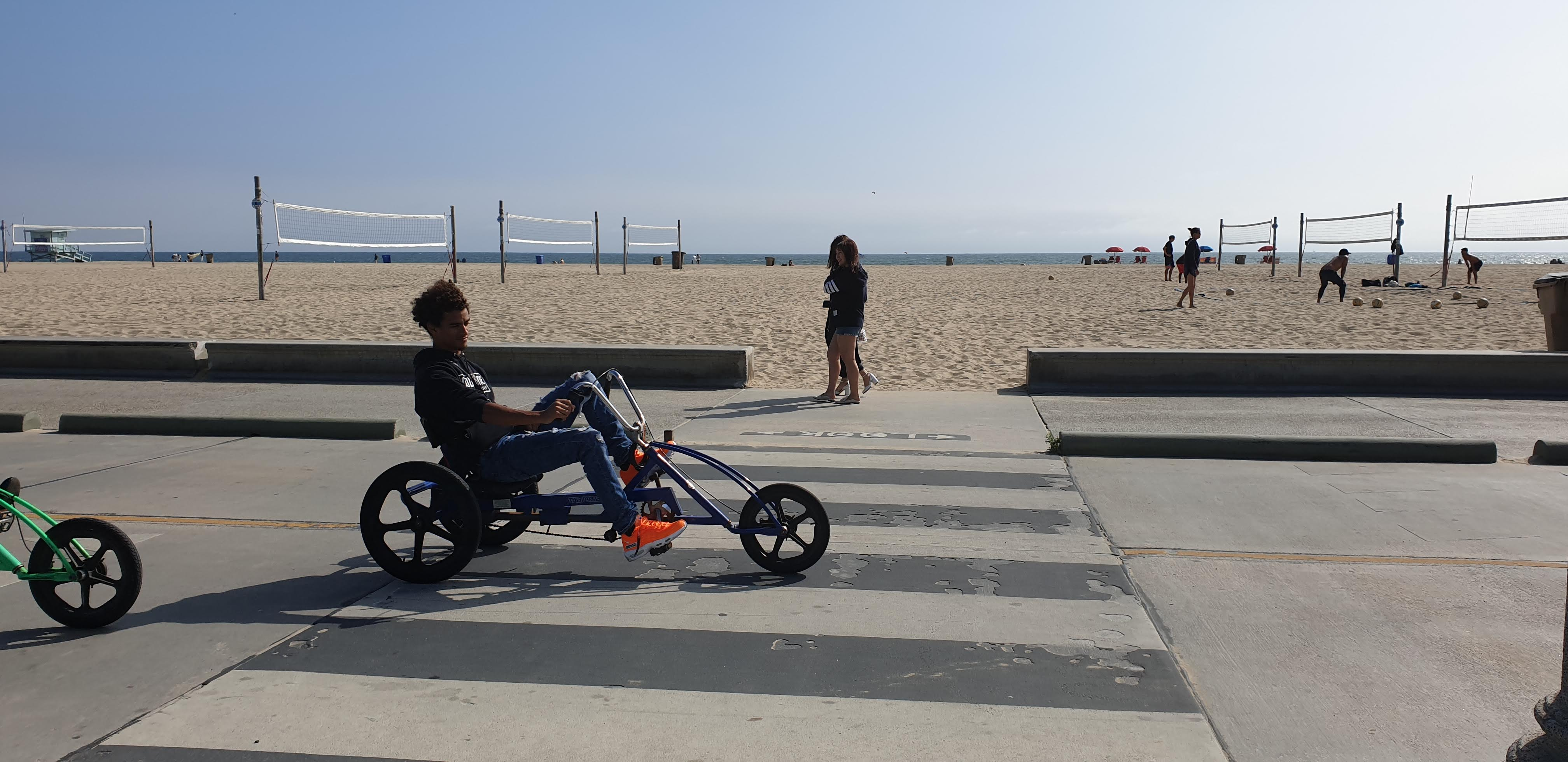 Ride a bike along the beach in Santa Monica California