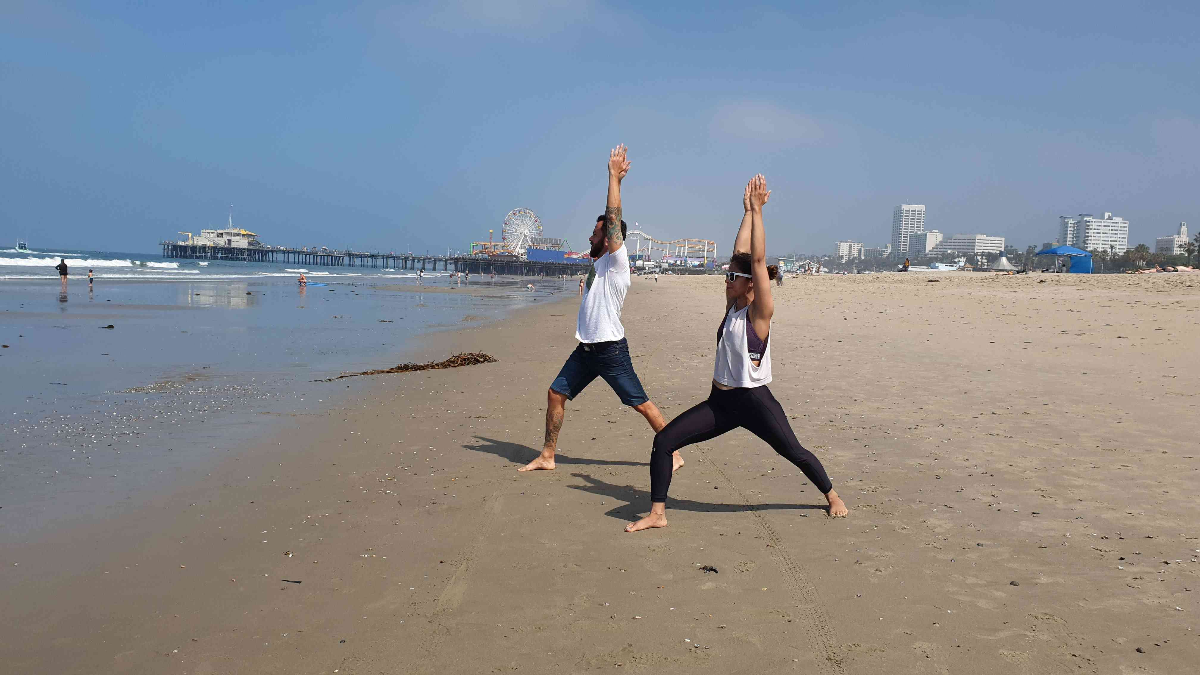 Try Yoga on the beach in Santa Monica.
