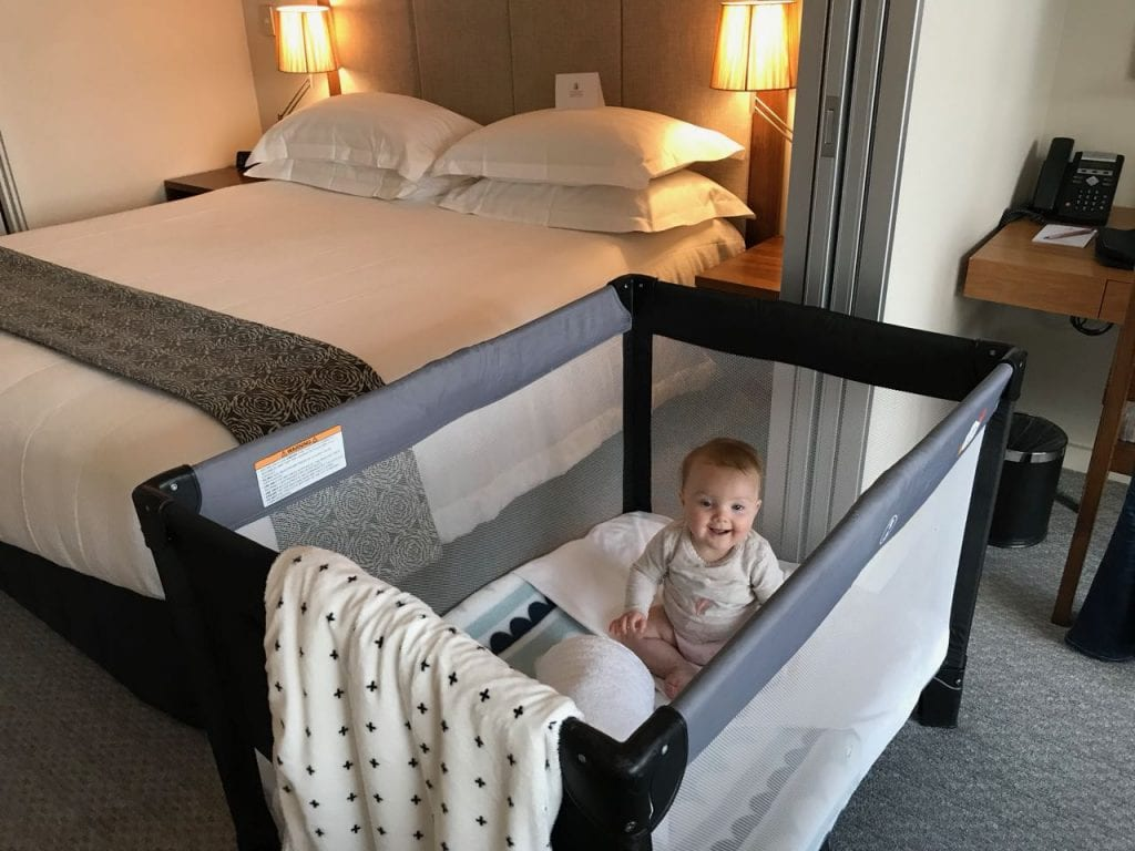 The cots provided for babies at The Rees Hotel are great. Credit: Janeece Keller