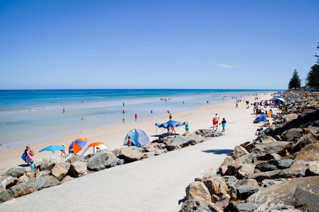 Set up your tent or umbrella for a beach day at Brighton. Credit: City of Holdfast Bay/ Michael Smith