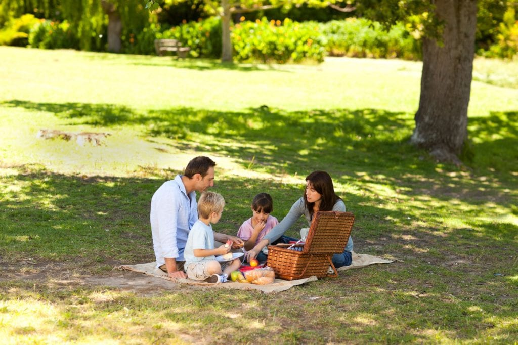 Find a shady patch and enjoy time outside as a family. Credit: Shutterstock