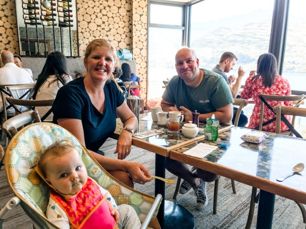 couple with a baby at True South Dining Room, The Rees Hotel, Queenstown
