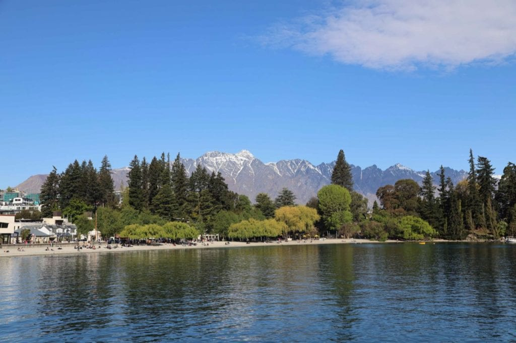 scenic view of Queenstown beach and gardens