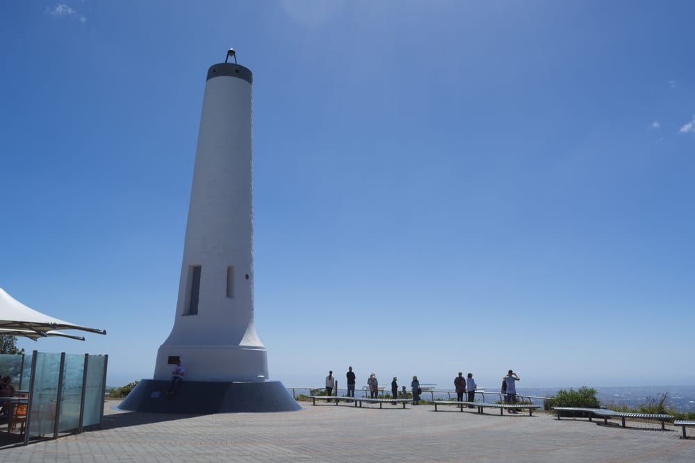 Mount Lofty, South Australia, Australia - 17 Dec 2016: Tourists at The Flinders column, an obelisk that was once a trig station is situated at Mount Lofty Summit.