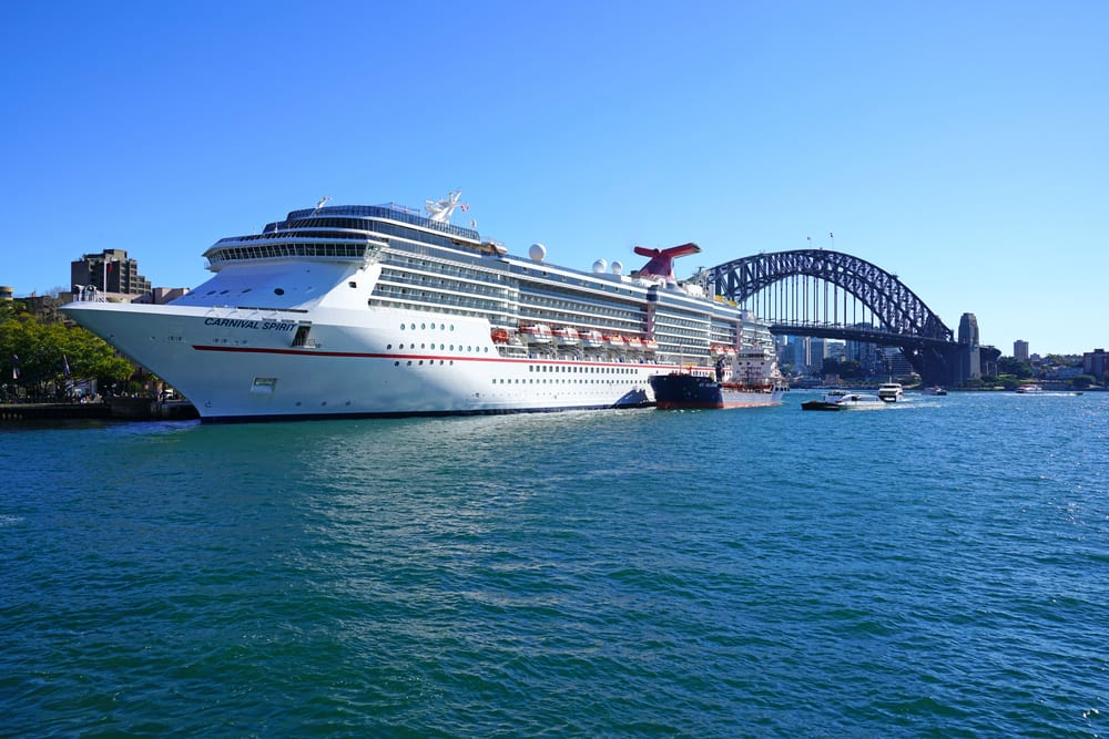 Carnival Spirit cruise ship parked in the Sydney harbour