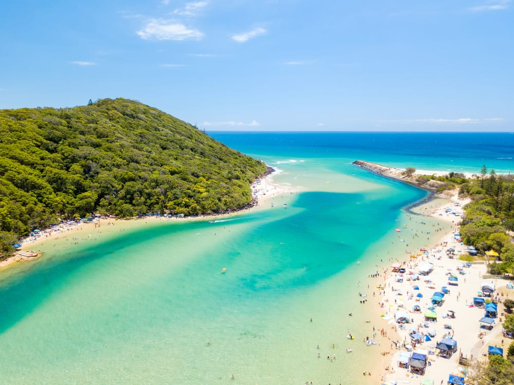 Tallebudgera Creek on a sunny day with blue water on the Gold Coast in Queensland, Australia