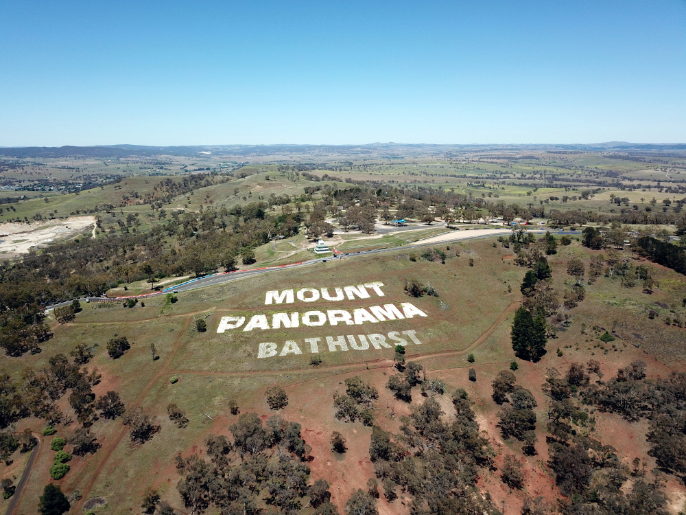 Aerial view of the Mount Panorama Circuit, the home of Australia most famous motor car race. Bathurst is located in the central west region of NSW.