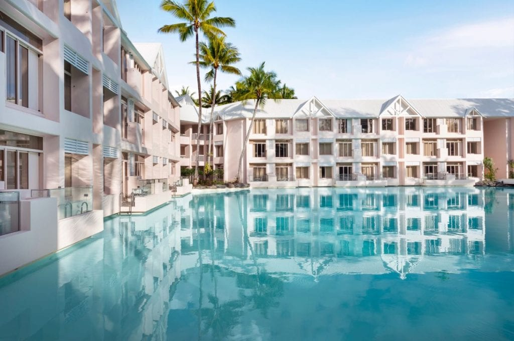 hotel rooms overlooking the central lagoon at Sheraton Grand Mirage Resort Port Douglas