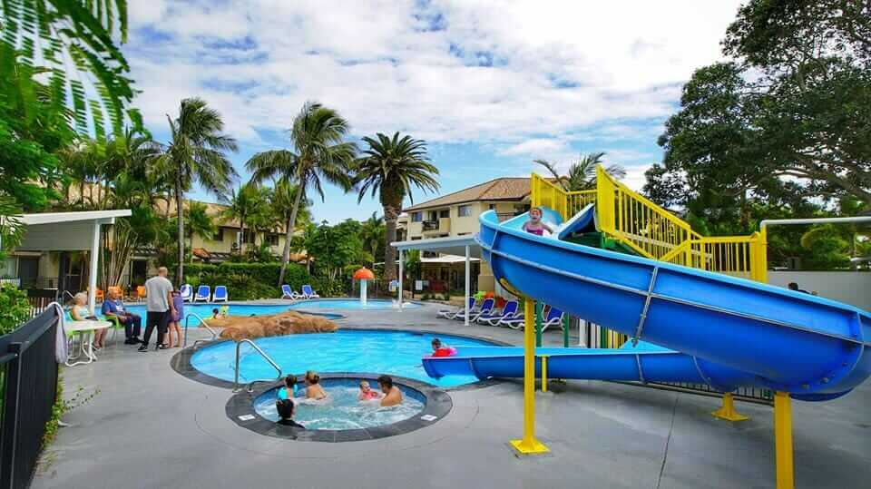 Waterslide and pool at Turtle Beach resort, Queensland