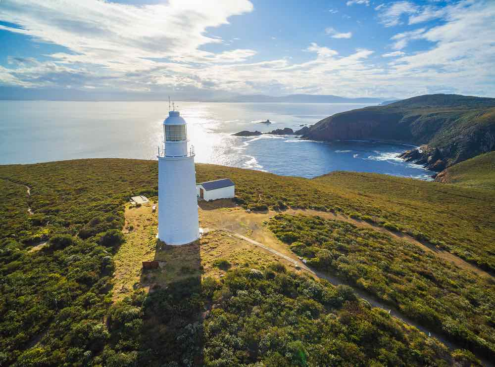 Aerial view of Bruny Island Lighthouse at sunset